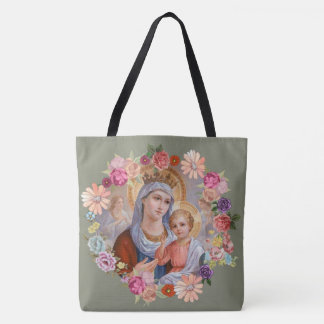 Virgin Mother Mary Baby Jesus Floral Angels Crown Tote Bag