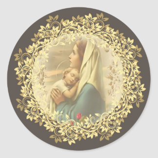 Virgin Mother Mary Baby Jesus Roses Classic Round Sticker