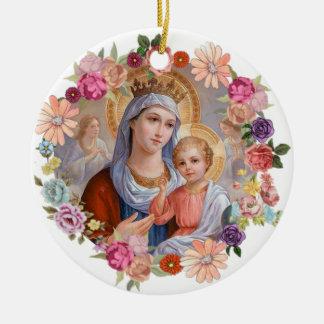 Virgin Mother Mary Crown Baby Jesus Angels Flowers Ceramic Ornament