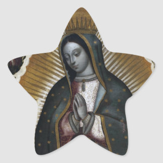 Virgin of Guadalupe Antique Painting Star Sticker