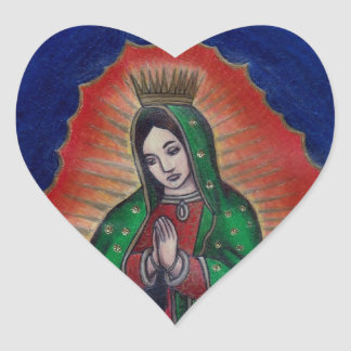 Virgin of Guadalupe Heart Sticker