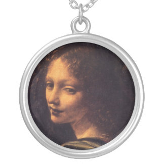 Virgin of the Rocks - Angel Round Pendant Necklace