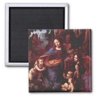 Virgin of the Rocks by Leonardo da Vinci 2 Inch Square Magnet