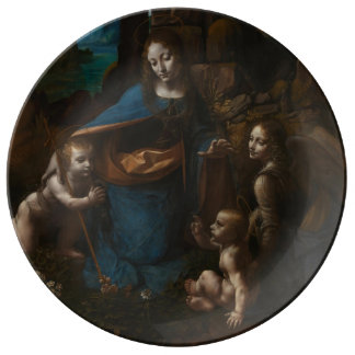 Virgin of the Rocks by Leonardo da Vinci Porcelain Plates
