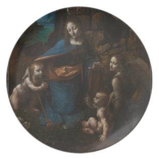 Virgin of the Rocks by Leonardo da Vinci Dinner Plates