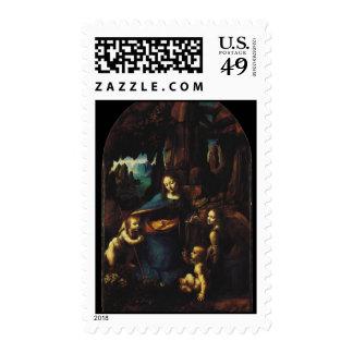 Virgin of the Rocks by Leonardo Da Vinci Postage Stamp