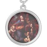 Virgin of the Rocks by Leonardo da Vinci Round Pendant Necklace