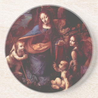 Virgin of the Rocks by Leonardo da Vinci Sandstone Coaster