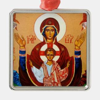 Virgin Orans Icon Christmas Ornament