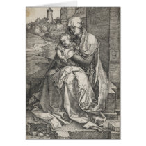 Virgin Sitting by a Wall by Albrecht Durer Card
