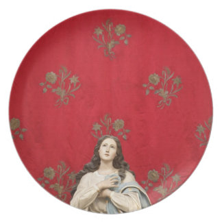 Virgin statue in a Spaccanapoli church, Naples Party Plates