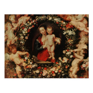 Virgin with a Garland of Flowers, c.1618-20 Postcard