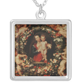 Virgin with a Garland of Flowers, c.1618-20 Silver Plated Necklace