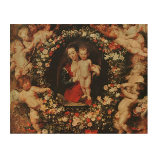 Virgin with a Garland of Flowers, c.1618-20 Wood Wall Decor