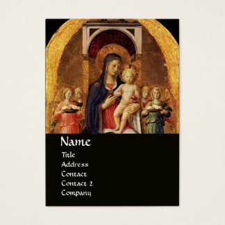VIRGIN WITH CHILD AND ANGELS ,black Business Card