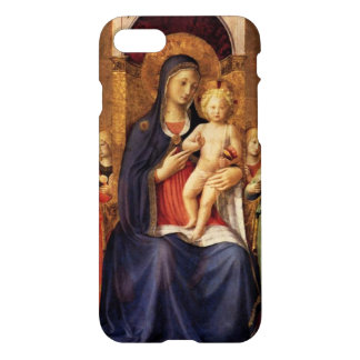 VIRGIN WITH CHILD AND ANGELS ,blue black iPhone 8/7 Case