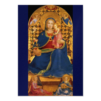 VIRGIN WITH CHILD AND ANGELS, Blue Gold Metallic Card