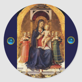 VIRGIN WITH CHILD AND ANGELS ,Blue Sapphire Classic Round Sticker