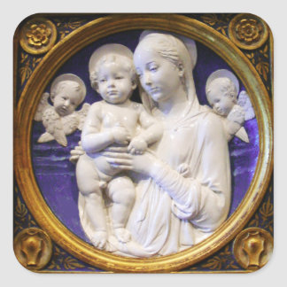 VIRGIN WITH CHILD AND ANGELS Blue White Christmas Square Sticker