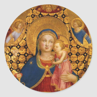 VIRGIN WITH CHILD AND ANGELS CLASSIC ROUND STICKER