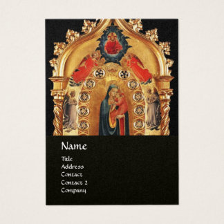 VIRGIN WITH CHILD AND ANGELS GOLD SACRED ART ICON BUSINESS CARD