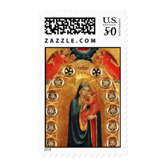 VIRGIN WITH CHILD AND ANGELS GOLD SACRED ART ICON POSTAGE