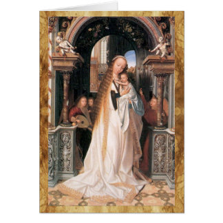 VIRGIN WITH CHILD AND ANGELS MERRY CHRISTMAS CARD