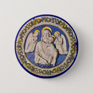 VIRGIN WITH CHILD AND ANGELS PINBACK BUTTON