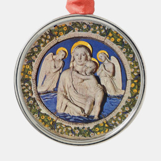 VIRGIN WITH CHILD AND ANGELS  Round Blue Sapphire Metal Ornament