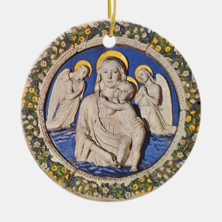 VIRGIN WITH CHILD AND ANGELS  Round Blue Sapphire Christmas Tree Ornament