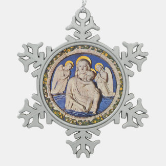 VIRGIN WITH CHILD AND ANGELS  Round Snowflake Pewter Christmas Ornament