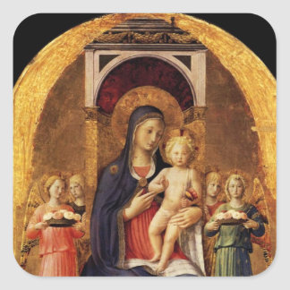 VIRGIN WITH CHILD AND ANGELS SQUARE STICKER