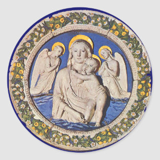 VIRGIN WITH CHILD AND ANGELS ROUND STICKER