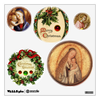 VIRGIN WITH CHILD AND FLORAL CHRISTMAS CROWNS WALL DECAL