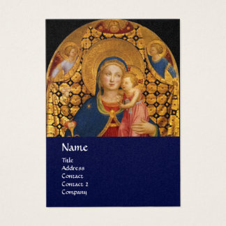 VIRGIN WITH CHILD AND SAINTS ,blue gold metallic Business Card