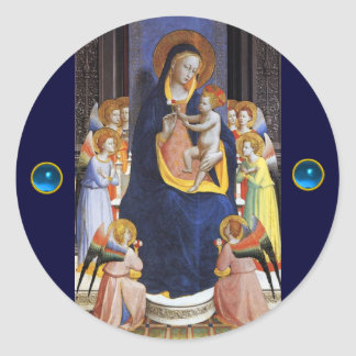 VIRGIN WITH CHILD AND SAINTS ,Blue Sapphire Classic Round Sticker