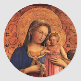 VIRGIN WITH CHILD AND SAINTS CLASSIC ROUND STICKER