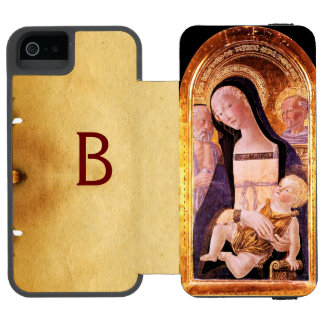 VIRGIN WITH CHILD AND SAINTS, parchment MONOGRAM Wallet Case For iPhone SE/5/5s