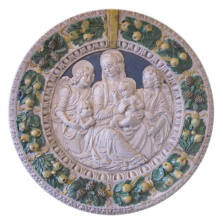 VIRGIN WITH CHILD AND SAINTS Round Melamine Plate