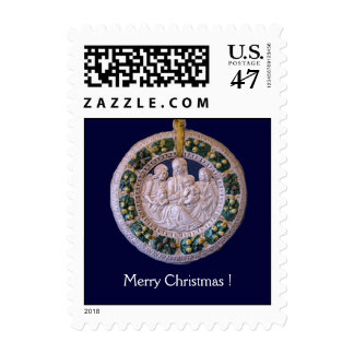 VIRGIN WITH CHILD AND SAINTS Round Postage Stamp
