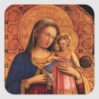 VIRGIN WITH CHILD AND SAINTS SQUARE STICKER