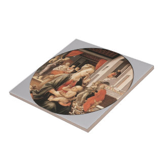 Virgin with Child and Scenes by Filippo Lippi Ceramic Tiles