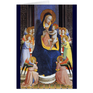 VIRGIN WITH CHILD ANGELS AND SAINTS ,Blue Sapphire Card