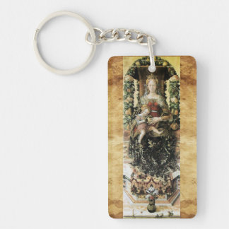 VIRGIN WITH CHILD ,Ave Maria Prayer Parchment Keychain