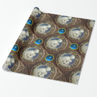 VIRGIN WITH CHILD ,Blue Sapphire Gemstones Wrapping Paper