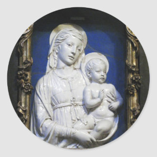 VIRGIN WITH CHILD ,Blue White Christmas Classic Round Sticker