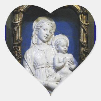 VIRGIN WITH CHILD ,Blue White Christmas Heart Sticker