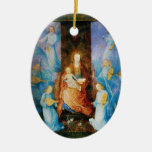 VIRGIN WITH CHILD -CONCERT OF ANGELS,Blue Sapphire Christmas Ornament