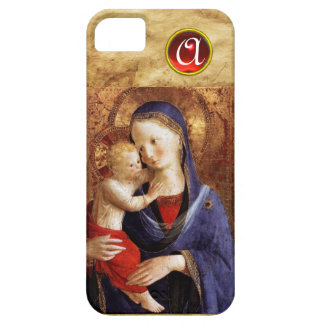 VIRGIN WITH CHILD  Red Ruby Monogram iPhone SE/5/5s Case