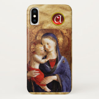 VIRGIN WITH CHILD  Red Ruby Monogram iPhone X Case